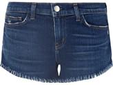 L'Agence Zoe Frayed Denim Shorts - Mid denim