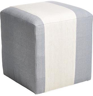 Imagine Home Azur Cube Ottoman - Light Blue/Cream