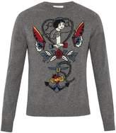 Valentino Tattoo-intarsia cashmere-blend sweater
