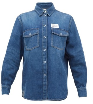 Burberry Flora Logo-patch Denim Shirt - Womens - Indigo