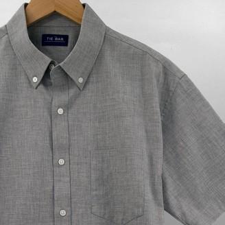 Tie Bar Solid Cotton Grey Short Sleeve Shirt