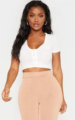 PrettyLittleThing Shape White Ribbed Button Front Short Sleeve Crop Top