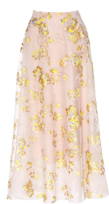DELPOZO Floral-Embroidered Tulle Maxi Skirt