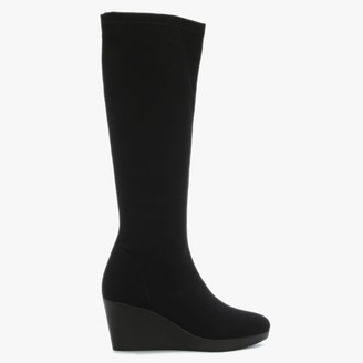 Daniel Rosetta Black Wedge Knee Boots