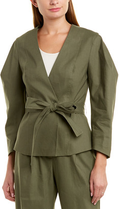 BCBGMAXAZRIA Tie-Front Linen-Blend Jacket
