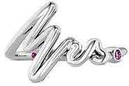 Hayley Paige for Hearts on Fire 18K White Gold Love Code Band with Pink Sapphire
