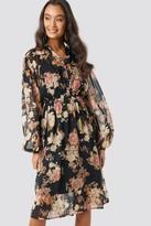 NA-KD Elastic Waist Chiffon Midi Dress Black