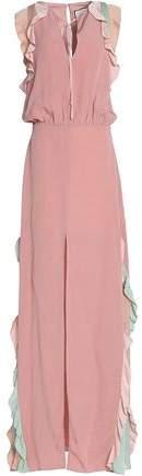 Alexis Ruffle-Trimmed Color-Block Crepe Maxi Dress