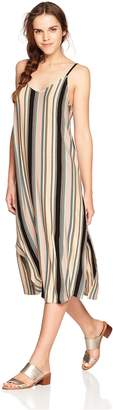 RVCA Junior's Jasmine Stripe V-Neck MIDI Dress