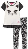 Betsey Johnson Cat Face Top & Allover Print Legging Set (Toddler Girls)