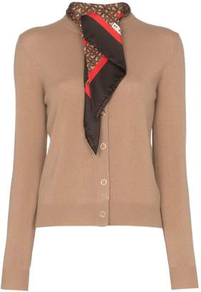 Burberry scarf detail knitted cashmere cardigan