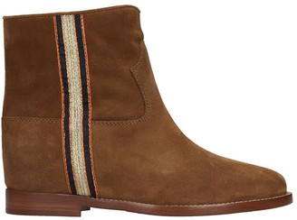 Via Roma 15 Low Heels Ankle Boots In Brown Suede