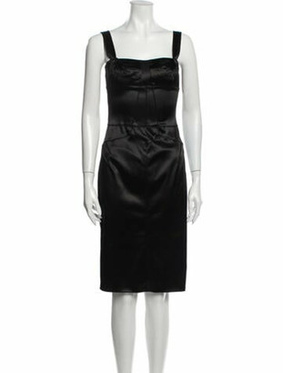 Dolce & Gabbana Square Neckline Knee-Length Dress Black