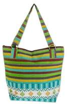 Guatemalan Handwoven Turquoise Cotton Tote with Green Yellow, 'Joyous Colors'