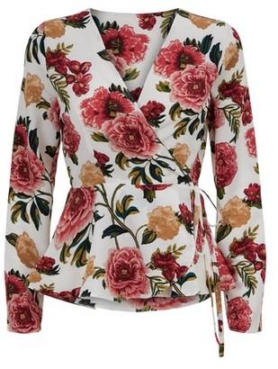 Dorothy Perkins Womens Vesper Multi Colour Floral Print Wrap Blouse