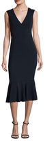 Jay Godfrey Vaughn Deep V Flounce Midi Dress