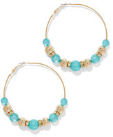 New York & Co. Turquoise-Hued Beaded Hoop Earring