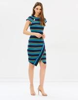Karen Millen Striped Asymmetric Pencil Dress
