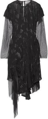 Preen by Thornton Bregazzi Carly Swiss-dot Tulle-paneled Fil Coupe Chiffon Dress