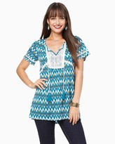 Charming charlie Crochet-Trim Chevron Tunic