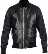 Givenchy Dark Navy Star Detail Leather Jacket