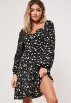 Missguided Black Floral Button Front A Line Mini Dress