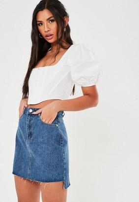Missguided Petite Blue Step Hem Basic Denim Mini Skirt
