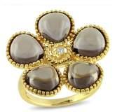 Catherine Malandrino Smokey Quartz And Diamond Floral Ring.