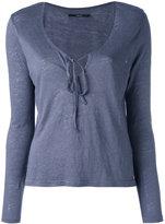 J Brand front-tie top - women - Linen/Flax - S