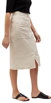 Jaeger Linen Belted Midi Skirt, White