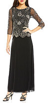 Pisarro Nights Beaded Bodice Faux Two Piece Gown