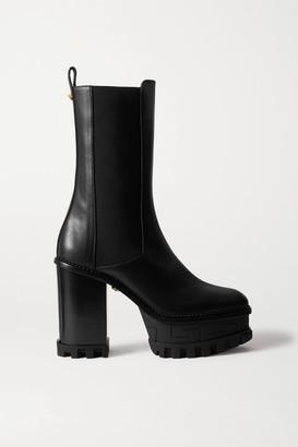 Versace Embellished Leather Platform Chelsea Boots - Black