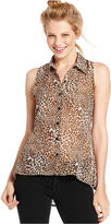 Amy Byer Juniors Top, Sleeveless Printed Lace High-Low