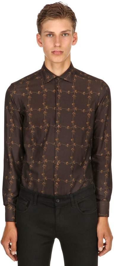 Etro Slim Fit Micro Flower Cotton Shirt