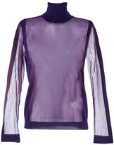 Maison Margiela sheer panelled ribber jumper - women - Polyester/Wool - S