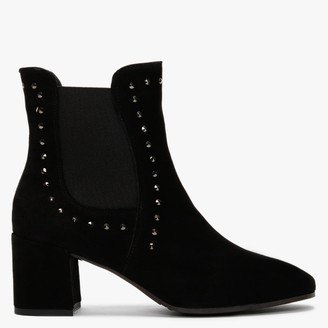 Easy'n Rose Black Suede Studded Heeled Chelsea Boots