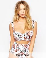 Asos FULLER BUST Exclusive Juliet Floral Print 50s Longline Bikini Top DD-G