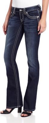 Miss Me Loose Saddle Stitch Border Boot Cut Jean 25 Dark Blue