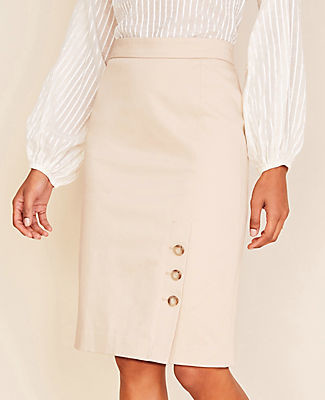 Ann Taylor The Petite Buttoned Pencil Skirt in Cotton Sateen