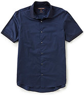Michael Kors Slim-Fit Short-Sleeve Solid Woven Shirt