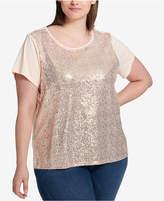 plus size gold sequin top - shopstyle