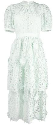 Self-Portrait 3D floral lace midi dress