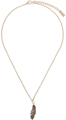 Saint Laurent Gold Palm Leaf Pendant Necklace
