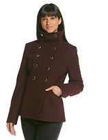 Kenneth Cole Stand Collar Peacoat with Gold Buttons
