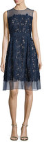 Carmen Marc Valvo Sleeveless Lace Fit & Flare Cocktail Dress