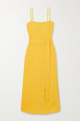 Mara Hoffman Net Sustain Philomena Belted Organic Cotton And Linen-blend Dress - Yellow