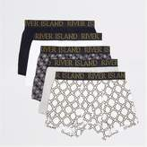 Mens Navy chain and geo print trunks 5 pack