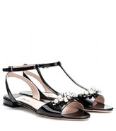 Miu Miu Crystal-embellished patent-leather sandals