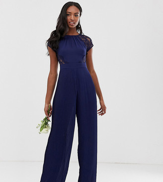 TFNC Tall lace detail jumpsuit in navy