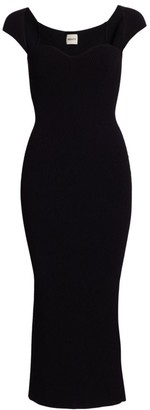 KHAITE Allegra Ribbed Corset Midi Dress